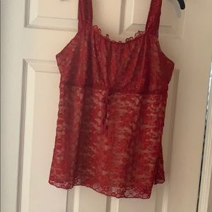 Red Lace sexy sleeveless top -never worn